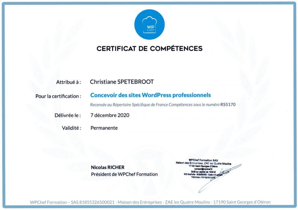 Certificat création sites WordPress