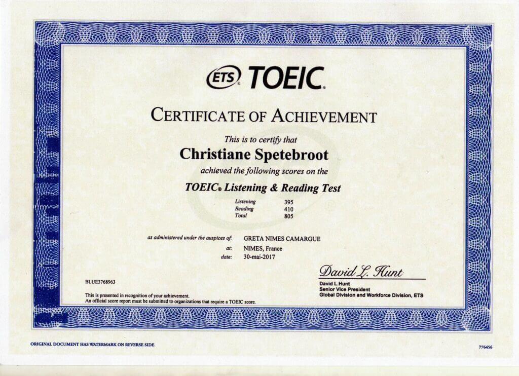 Certificat langue anglaise